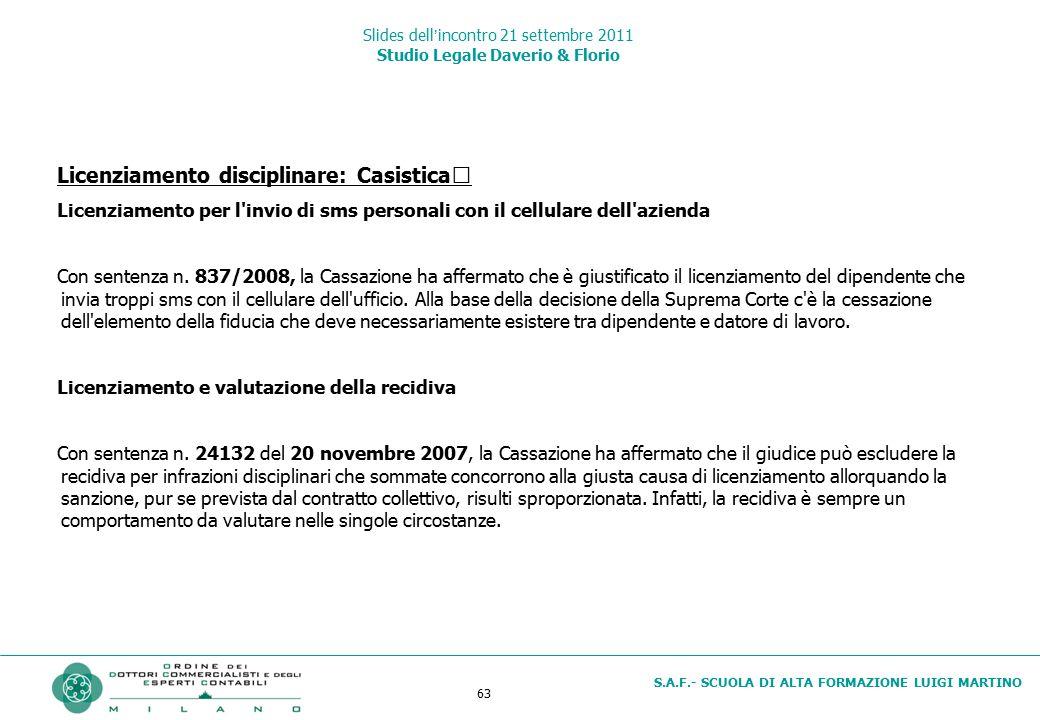 63 S.A.F.- SCUOLA DI ALTA FORMAZIONE LUIGI MARTINO Slides dell'incontro 21 settembre 2011 Studio Legale Daverio & Florio Licenziamento disciplinare: C