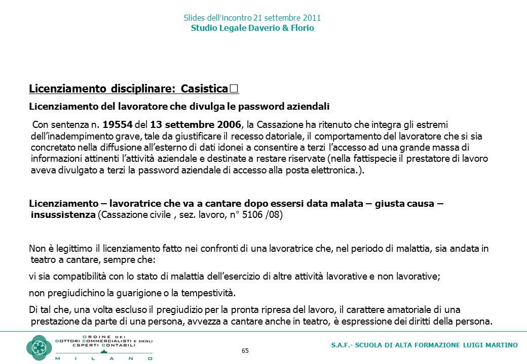 65 S.A.F.- SCUOLA DI ALTA FORMAZIONE LUIGI MARTINO Slides dell'incontro 21 settembre 2011 Studio Legale Daverio & Florio Licenziamento disciplinare: C