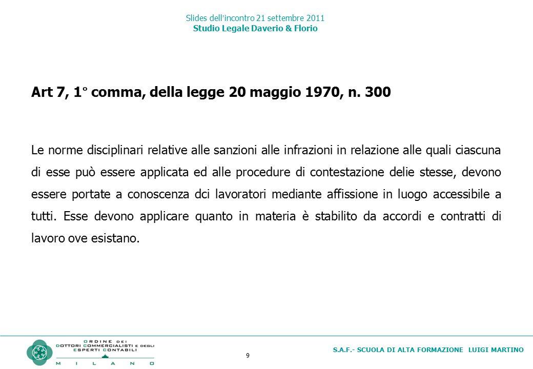 9 S.A.F.- SCUOLA DI ALTA FORMAZIONE LUIGI MARTINO Slides dell'incontro 21 settembre 2011 Studio Legale Daverio & Florio Art 7, 1° comma, della legge 2