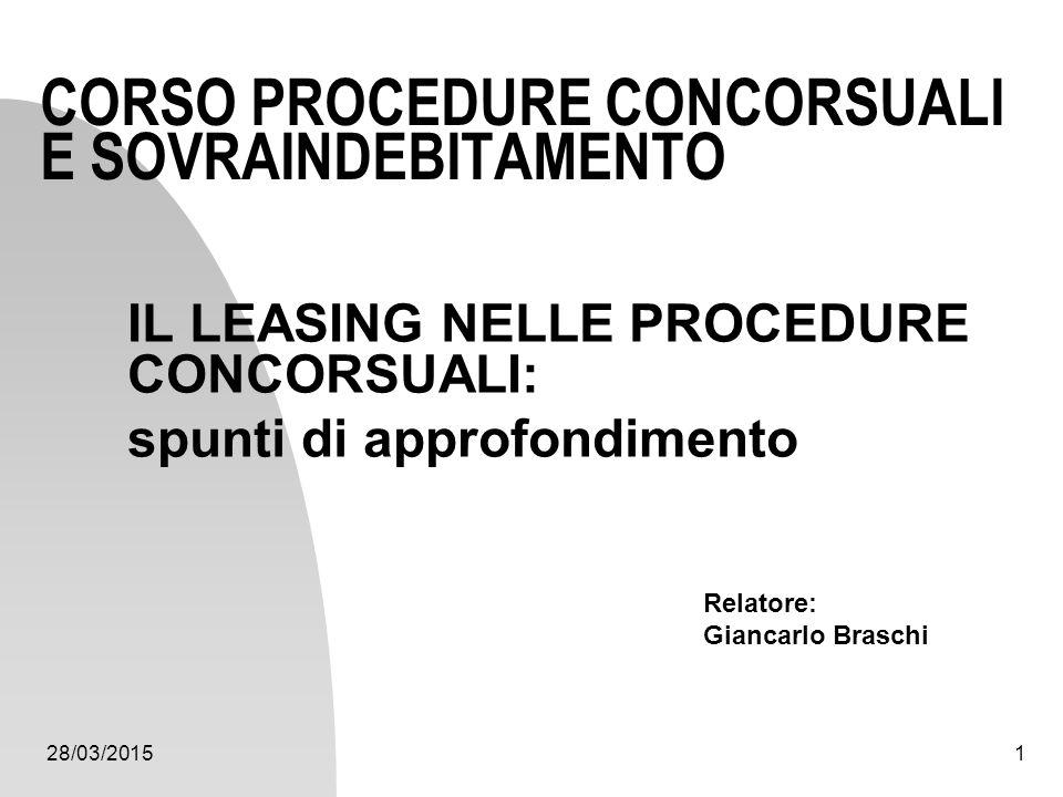 28/03/20151 CORSO PROCEDURE CONCORSUALI E SOVRAINDEBITAMENTO IL LEASING NELLE PROCEDURE CONCORSUALI: spunti di approfondimento Relatore: Giancarlo Bra