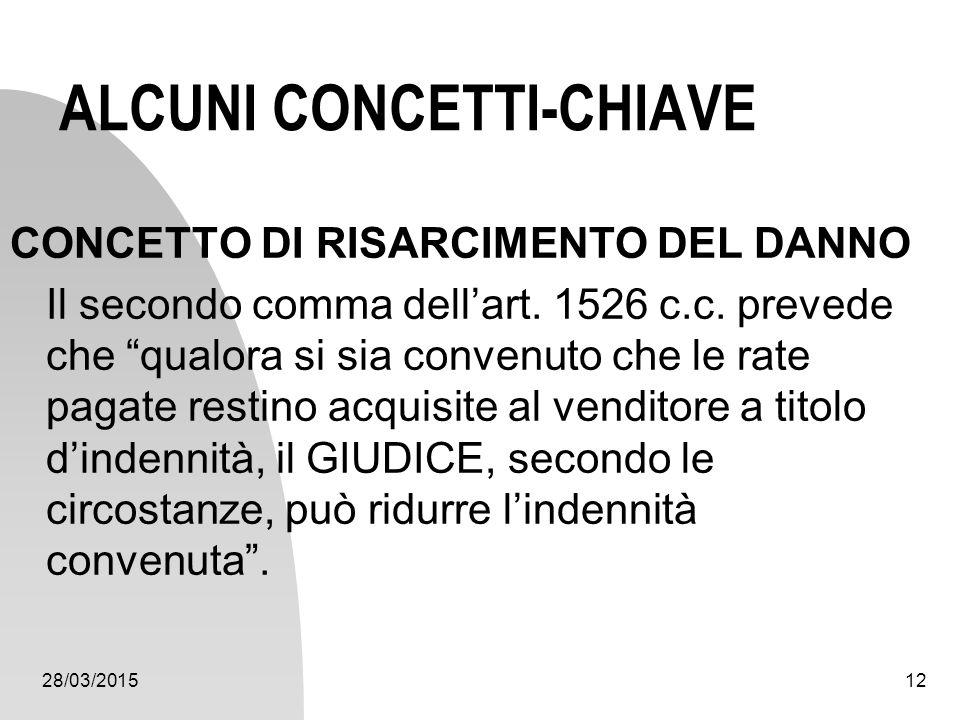 """28/03/201512 ALCUNI CONCETTI-CHIAVE CONCETTO DI RISARCIMENTO DEL DANNO Il secondo comma dell'art. 1526 c.c. prevede che """"qualora si sia convenuto che"""