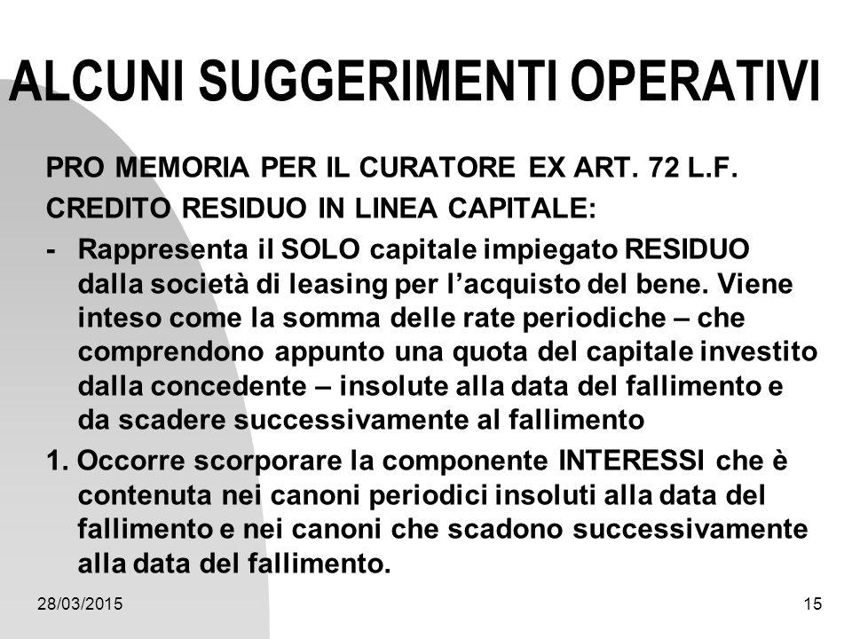28/03/201515 ALCUNI SUGGERIMENTI OPERATIVI PRO MEMORIA PER IL CURATORE EX ART. 72 L.F. CREDITO RESIDUO IN LINEA CAPITALE: - Rappresenta il SOLO capita