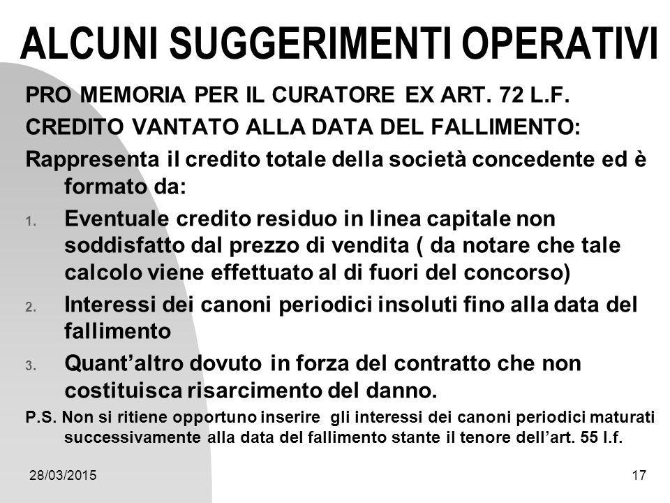28/03/201517 ALCUNI SUGGERIMENTI OPERATIVI PRO MEMORIA PER IL CURATORE EX ART. 72 L.F. CREDITO VANTATO ALLA DATA DEL FALLIMENTO: Rappresenta il credit