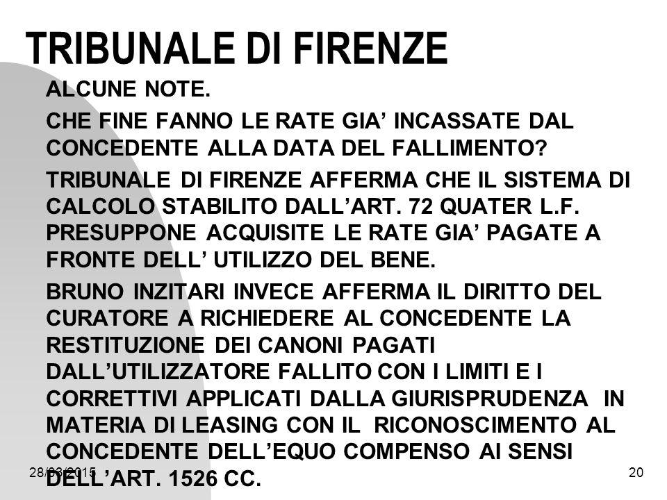28/03/201520 TRIBUNALE DI FIRENZE ALCUNE NOTE. CHE FINE FANNO LE RATE GIA' INCASSATE DAL CONCEDENTE ALLA DATA DEL FALLIMENTO? TRIBUNALE DI FIRENZE AFF
