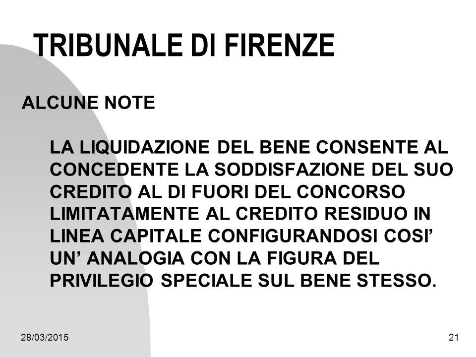 28/03/201521 TRIBUNALE DI FIRENZE ALCUNE NOTE LA LIQUIDAZIONE DEL BENE CONSENTE AL CONCEDENTE LA SODDISFAZIONE DEL SUO CREDITO AL DI FUORI DEL CONCORS