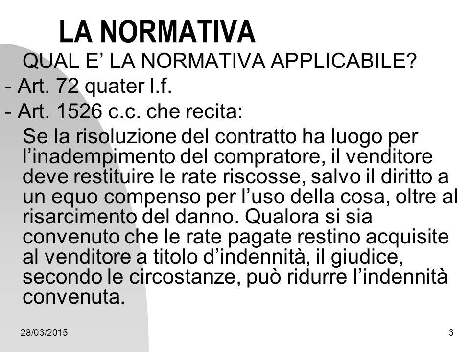 28/03/20153 LA NORMATIVA QUAL E' LA NORMATIVA APPLICABILE? - Art. 72 quater l.f. - Art. 1526 c.c. che recita: Se la risoluzione del contratto ha luogo