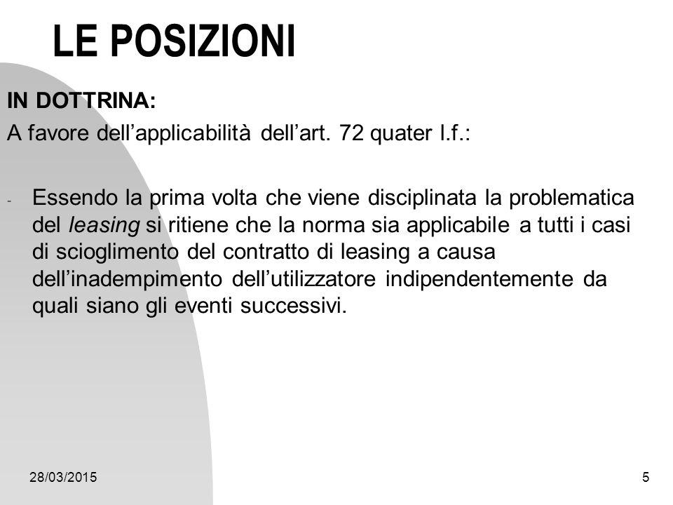 28/03/20155 LE POSIZIONI IN DOTTRINA: A favore dell'applicabilità dell'art. 72 quater l.f.: - Essendo la prima volta che viene disciplinata la problem