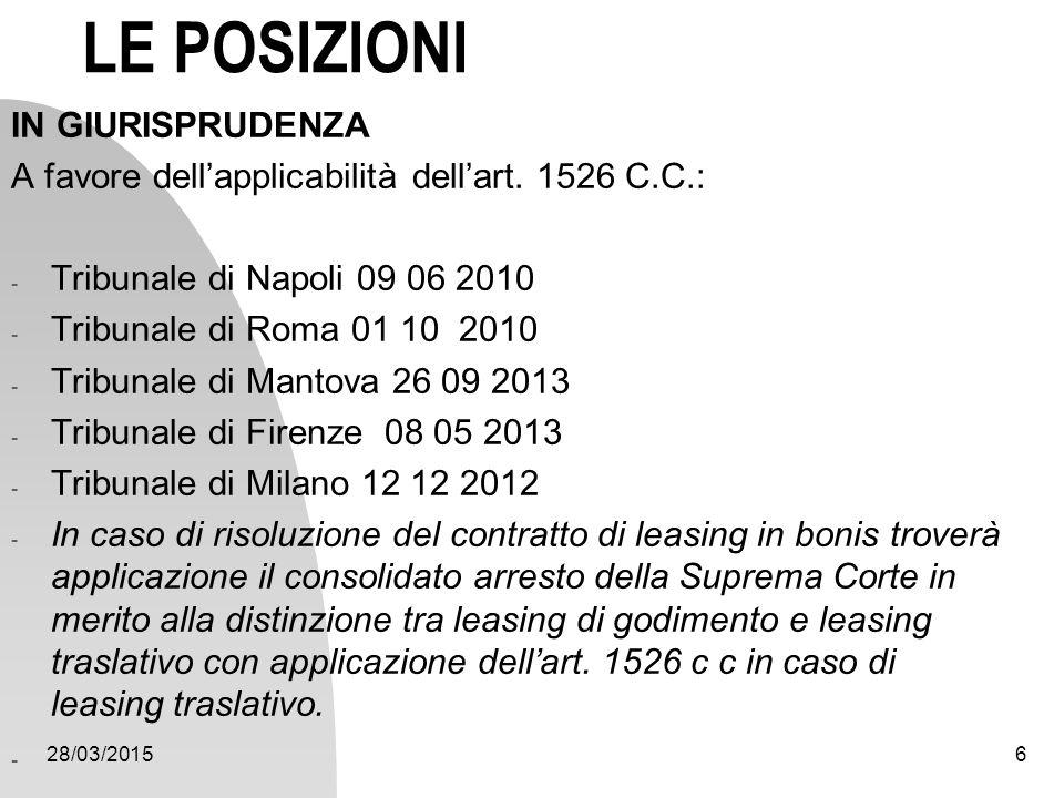 28/03/20156 LE POSIZIONI IN GIURISPRUDENZA A favore dell'applicabilità dell'art. 1526 C.C.: - Tribunale di Napoli 09 06 2010 - Tribunale di Roma 01 10