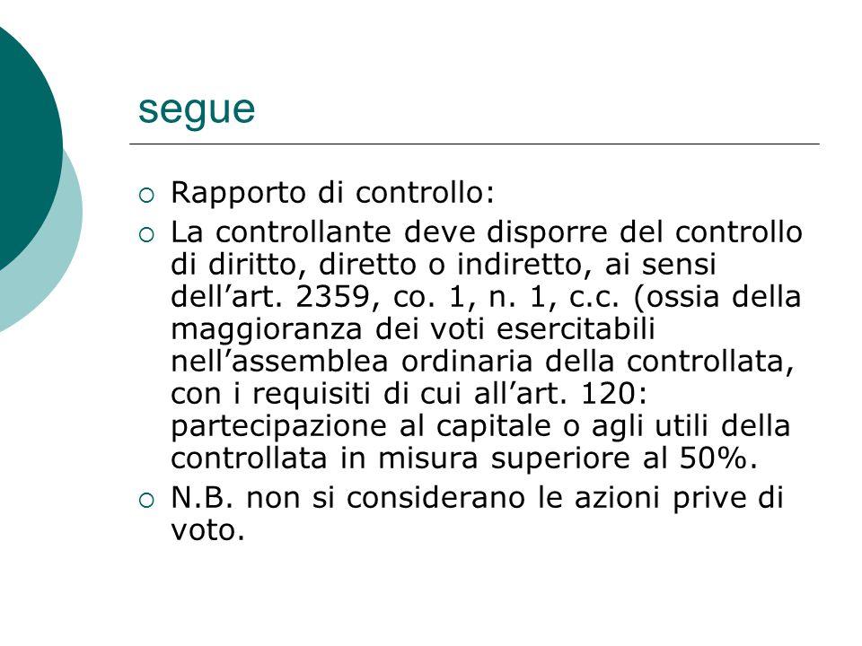 segue  Rapporto di controllo:  La controllante deve disporre del controllo di diritto, diretto o indiretto, ai sensi dell'art.
