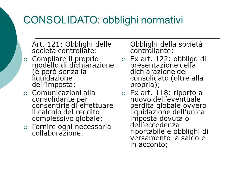 CONSOLIDATO: obblighi normativi Art.