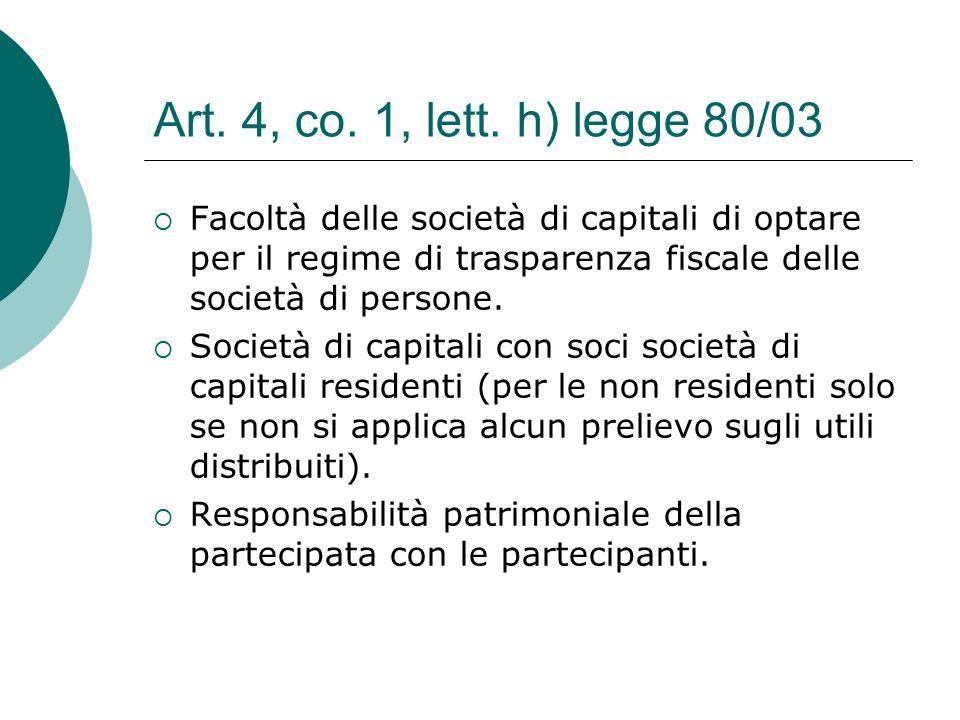Art. 4, co. 1, lett. h) legge 80/03  Facoltà delle società di capitali di optare per il regime di trasparenza fiscale delle società di persone.  Soc