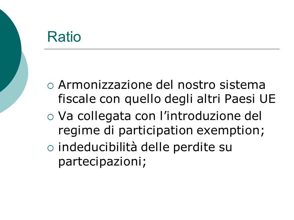 Ratio  Armonizzazione del nostro sistema fiscale con quello degli altri Paesi UE  Va collegata con l'introduzione del regime di participation exemption;  indeducibilità delle perdite su partecipazioni;