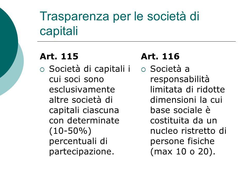Trasparenza per le società di capitali Art.