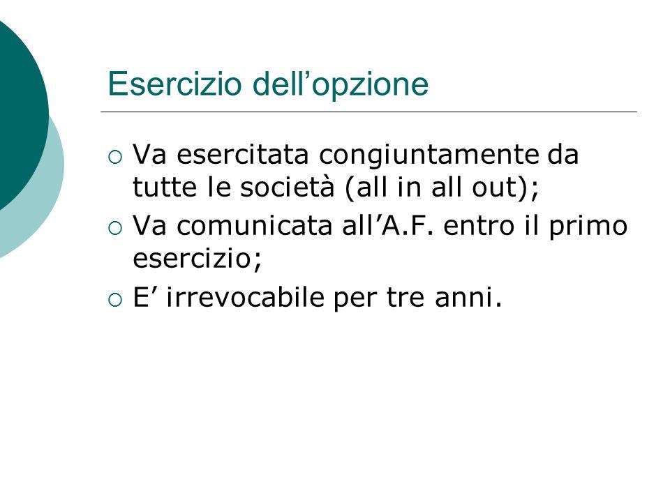 Esercizio dell'opzione  Va esercitata congiuntamente da tutte le società (all in all out);  Va comunicata all'A.F.