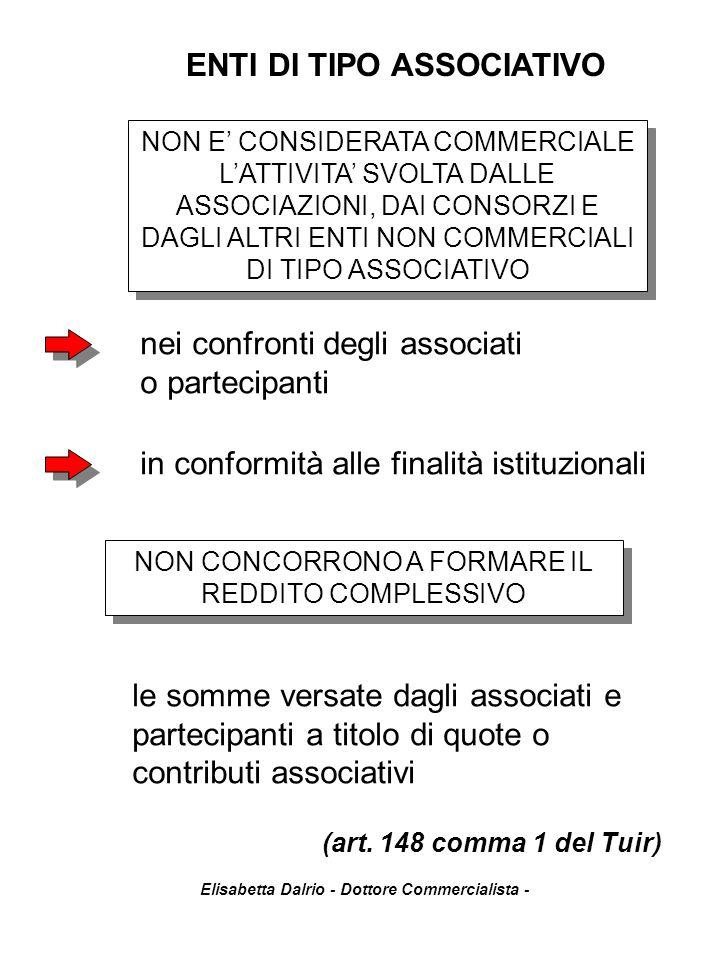 Elisabetta Dalrio - Dottore Commercialista - ENTI DI TIPO ASSOCIATIVO NON E' CONSIDERATA COMMERCIALE L'ATTIVITA' SVOLTA DALLE ASSOCIAZIONI, DAI CONSOR
