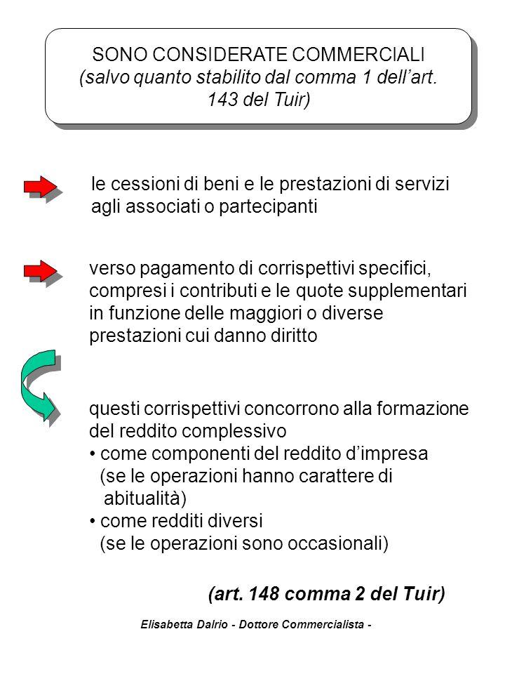 Elisabetta Dalrio - Dottore Commercialista - (art. 148 comma 2 del Tuir) le cessioni di beni e le prestazioni di servizi agli associati o partecipanti