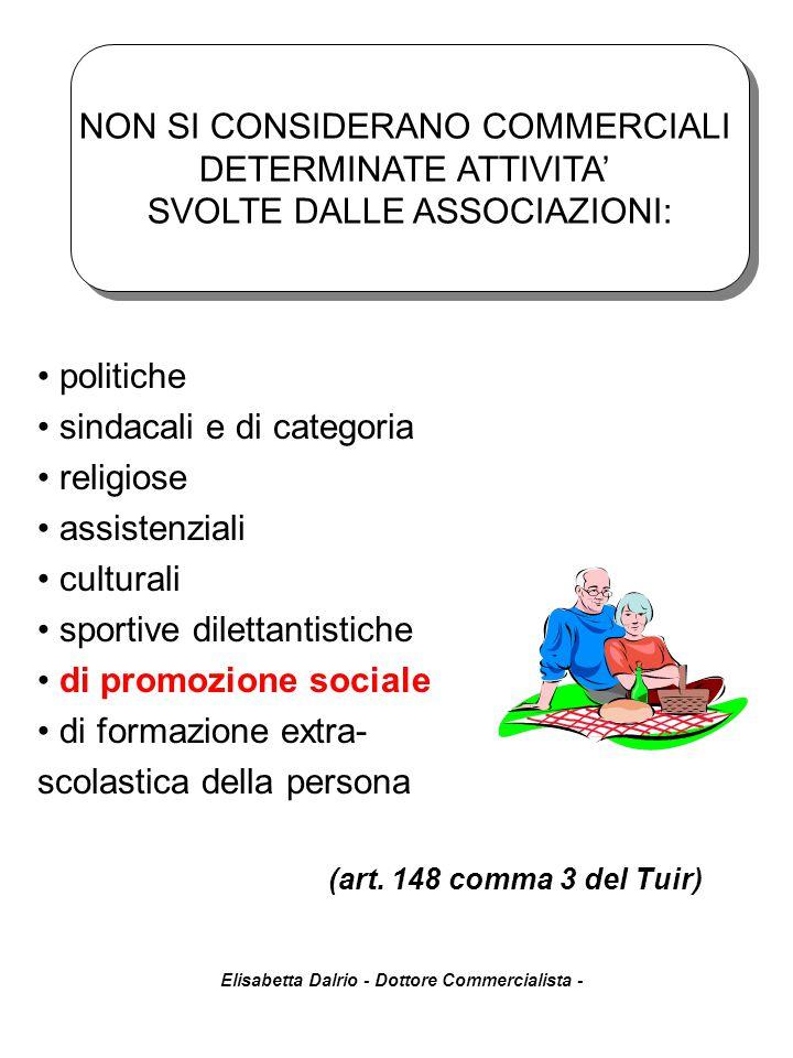 Elisabetta Dalrio - Dottore Commercialista - (art. 148 comma 3 del Tuir) politiche sindacali e di categoria religiose assistenziali culturali sportive