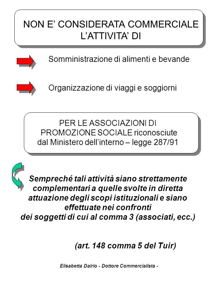 Elisabetta Dalrio - Dottore Commercialista - Somministrazione di alimenti e bevande Organizzazione di viaggi e soggiorni Sempreché tali attività siano