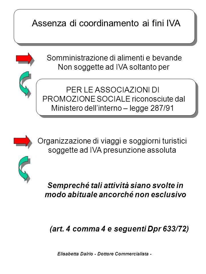 Elisabetta Dalrio - Dottore Commercialista - Somministrazione di alimenti e bevande Non soggette ad IVA soltanto per Sempreché tali attività siano svo