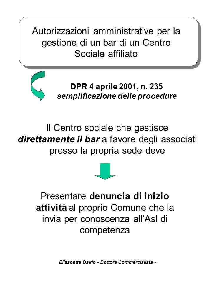 Elisabetta Dalrio - Dottore Commercialista - Autorizzazioni amministrative per la gestione di un bar di un Centro Sociale affiliato Il Centro sociale