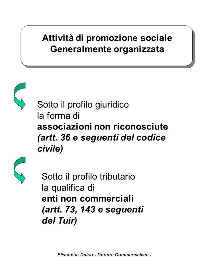 Elisabetta Dalrio - Dottore Commercialista - Attività di promozione sociale Generalmente organizzata Sotto il profilo giuridico la forma di associazio