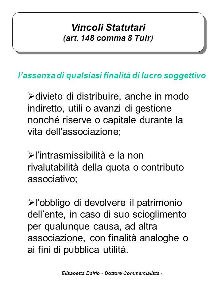 Elisabetta Dalrio - Dottore Commercialista -  divieto di distribuire, anche in modo indiretto, utili o avanzi di gestione nonché riserve o capitale d