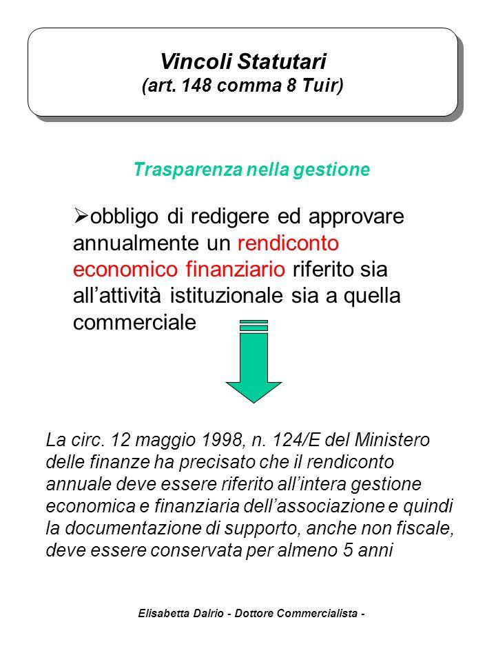 Elisabetta Dalrio - Dottore Commercialista - Trasparenza nella gestione Vincoli Statutari (art. 148 comma 8 Tuir) Vincoli Statutari (art. 148 comma 8