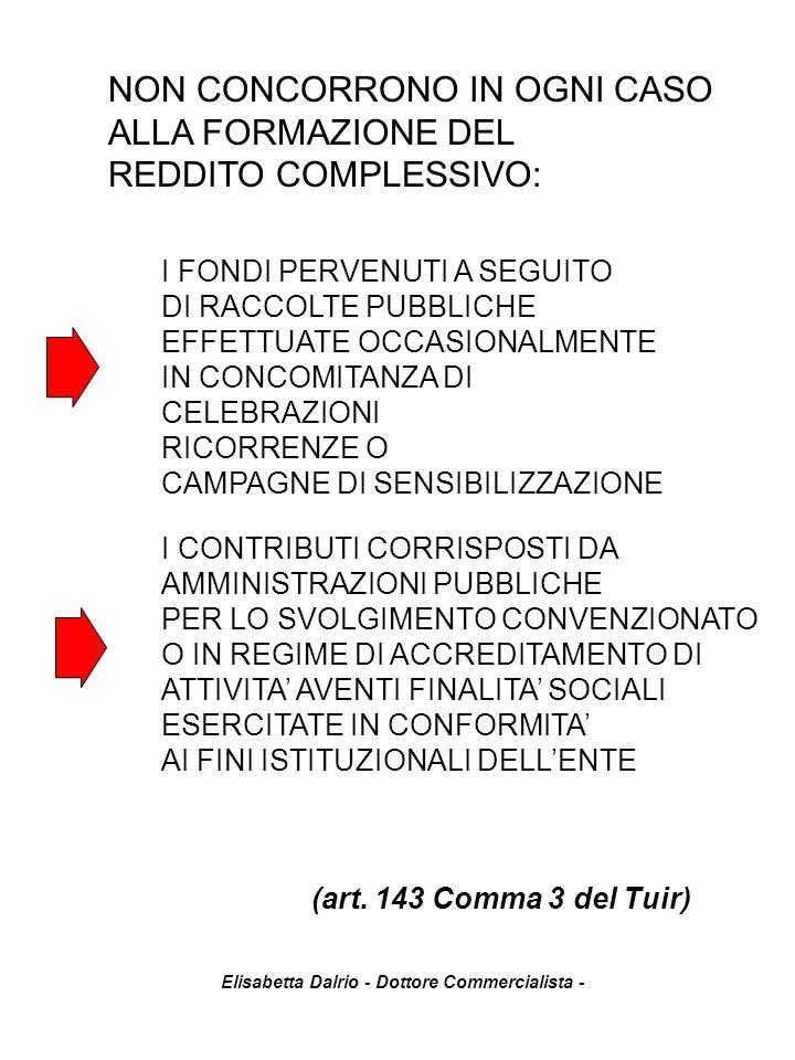 Elisabetta Dalrio - Dottore Commercialista - (art. 143 Comma 3 del Tuir) NON CONCORRONO IN OGNI CASO ALLA FORMAZIONE DEL REDDITO COMPLESSIVO: I FONDI