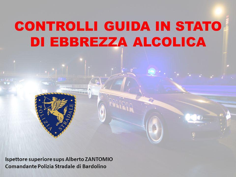 CONTROLLI GUIDA IN STATO DI EBBREZZA ALCOLICA Ispettore superiore sups Alberto ZANTOMIO Comandante Polizia Stradale di Bardolino