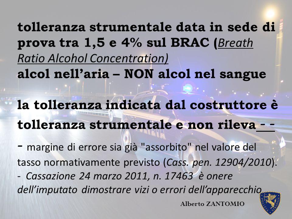 tolleranza strumentale data in sede di prova tra 1,5 e 4% sul BRAC ( Breath Ratio Alcohol Concentration) alcol nell'aria – NON alcol nel sangue la tol