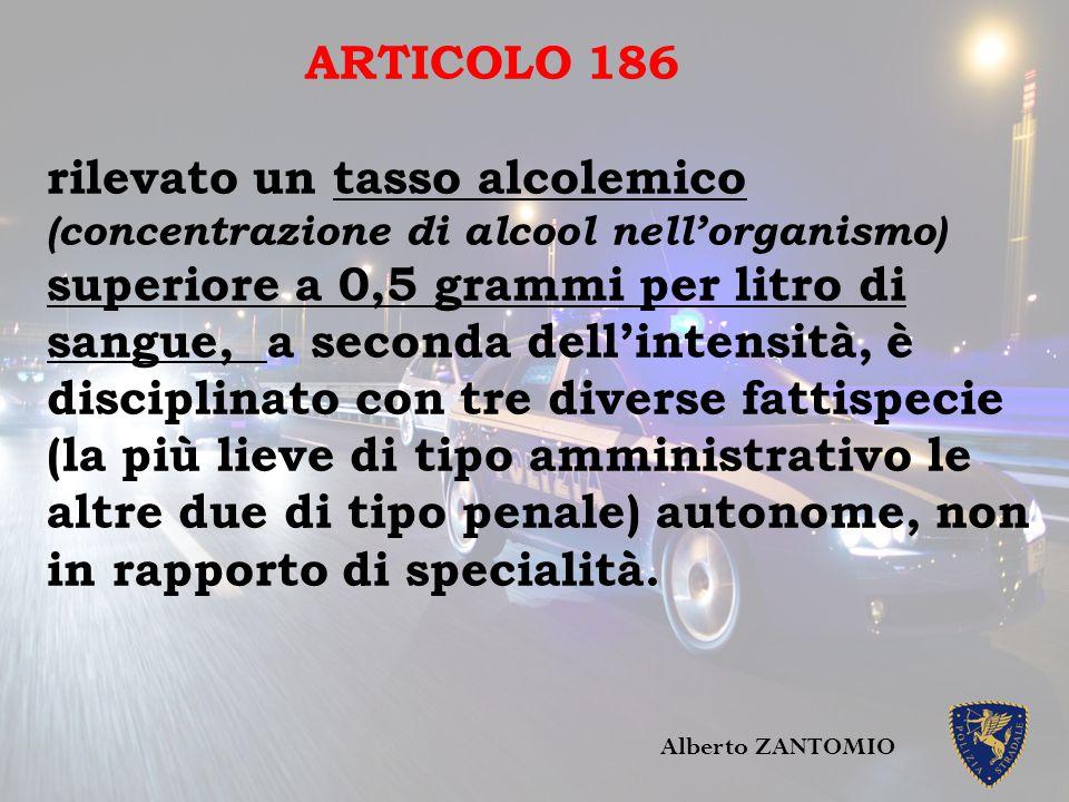 ARTICOLO 186 rilevato un tasso alcolemico (concentrazione di alcool nell'organismo) superiore a 0,5 grammi per litro di sangue, a seconda dell'intensi