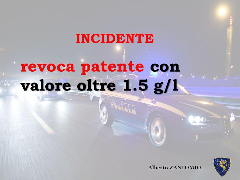 con valore oltre 1.5 g/l revoca patente con valore oltre 1.5 g/l Alberto ZANTOMIO INCIDENTE