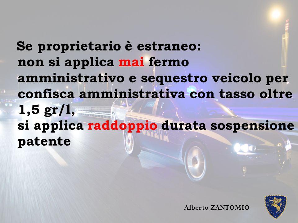 mai Se proprietario è estraneo: non si applica mai fermo amministrativo e sequestro veicolo per confisca amministrativa con tasso oltre 1,5 gr/l, si a