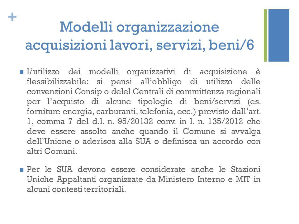 + Modelli organizzazione acquisizioni lavori, servizi, beni/6 L'utilizzo dei modelli organizzativi di acquisizione è flessibilizzabile: si pensi all'o