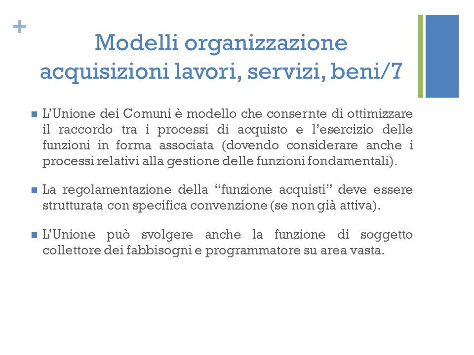 + Modelli organizzazione acquisizioni lavori, servizi, beni/7 L'Unione dei Comuni è modello che consernte di ottimizzare il raccordo tra i processi di