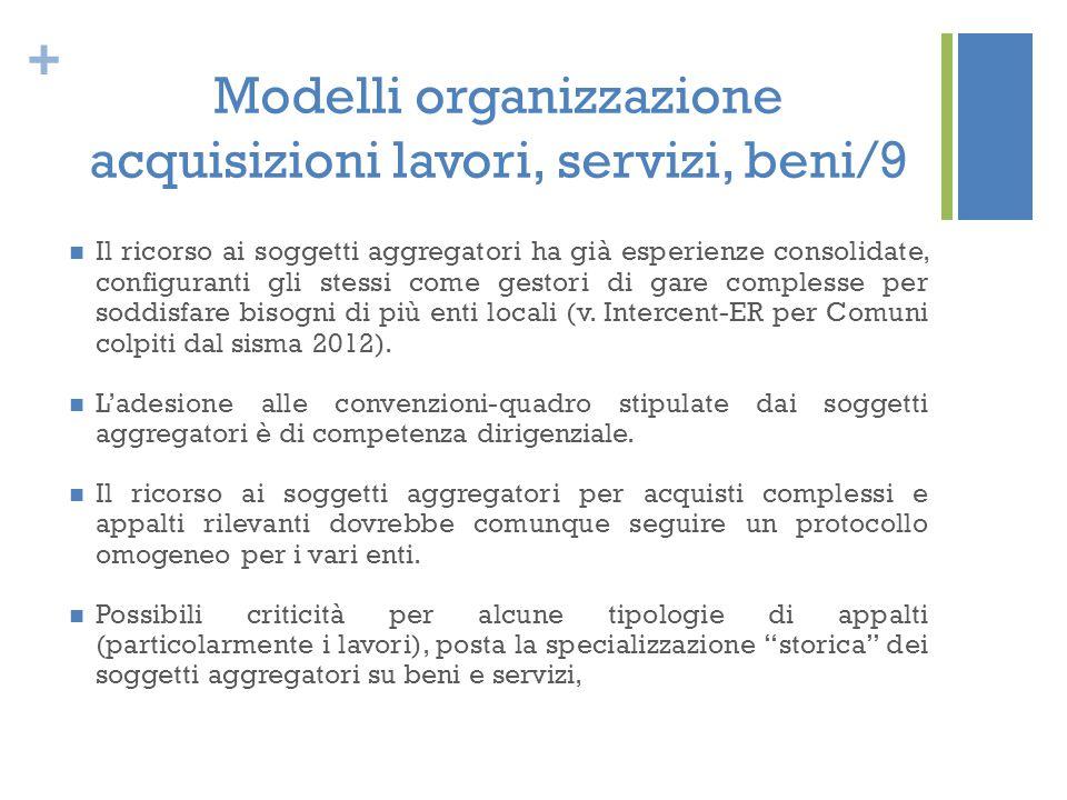 + Modelli organizzazione acquisizioni lavori, servizi, beni/9 Il ricorso ai soggetti aggregatori ha già esperienze consolidate, configuranti gli stess