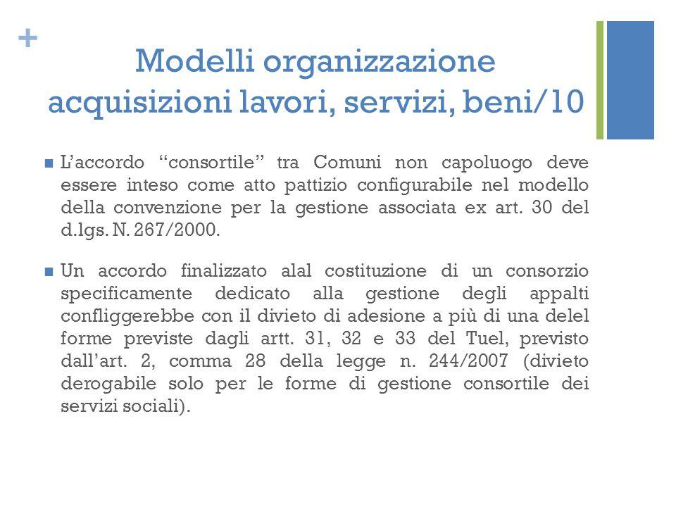 """+ Modelli organizzazione acquisizioni lavori, servizi, beni/10 L'accordo """"consortile"""" tra Comuni non capoluogo deve essere inteso come atto pattizio c"""