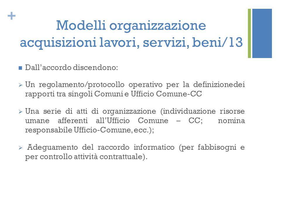 + Modelli organizzazione acquisizioni lavori, servizi, beni/13 Dall'accordo discendono:  Un regolamento/protocollo operativo per la definizionedei ra