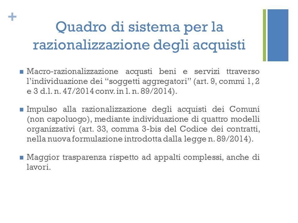 """+ Quadro di sistema per la razionalizzazione degli acquisti Macro-razionalizzazione acqusti beni e servizi ttraverso l'individuazione dei """"soggetti ag"""