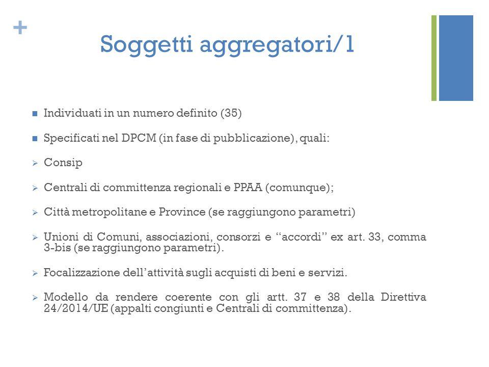 + Soggetti aggregatori/1 Individuati in un numero definito (35) Specificati nel DPCM (in fase di pubblicazione), quali:  Consip  Centrali di committ