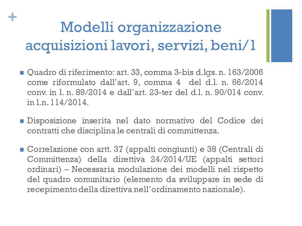 + Modelli organizzazione acquisizioni lavori, servizi, beni/1 Quadro di riferimento: art. 33, comma 3-bis d.lgs. n. 163/2006 come riformulato dall'art