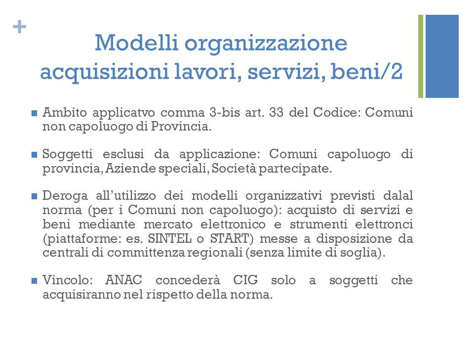 + Modelli organizzazione acquisizioni lavori, servizi, beni/2 Ambito applicatvo comma 3-bis art. 33 del Codice: Comuni non capoluogo di Provincia. Sog
