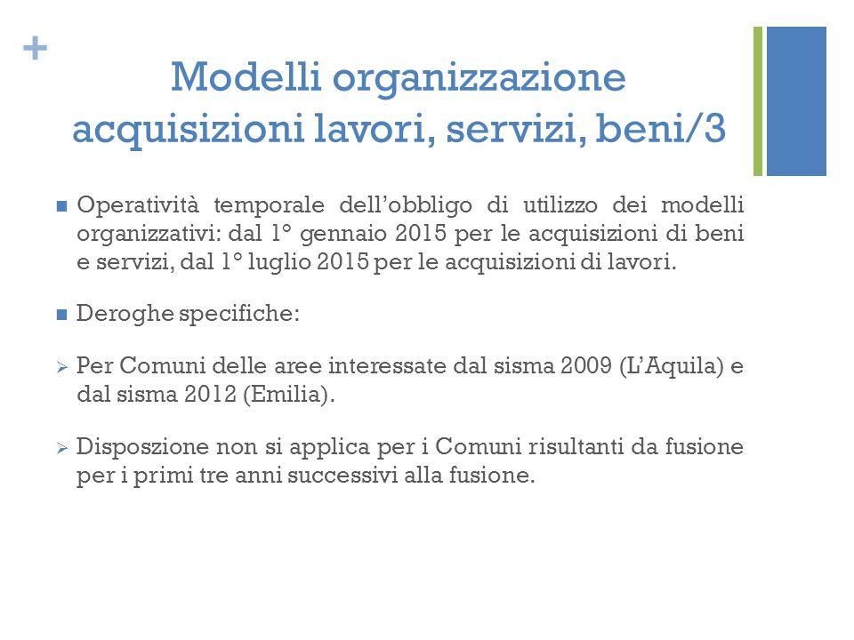 + Modelli organizzazione acquisizioni lavori, servizi, beni/3 Operatività temporale dell'obbligo di utilizzo dei modelli organizzativi: dal 1° gennaio