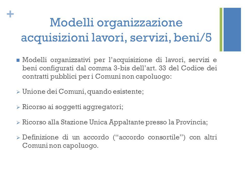 + Modelli organizzazione acquisizioni lavori, servizi, beni/5 Modelli organizzativi per l'acquisizione di lavori, servizi e beni configurati dal comma