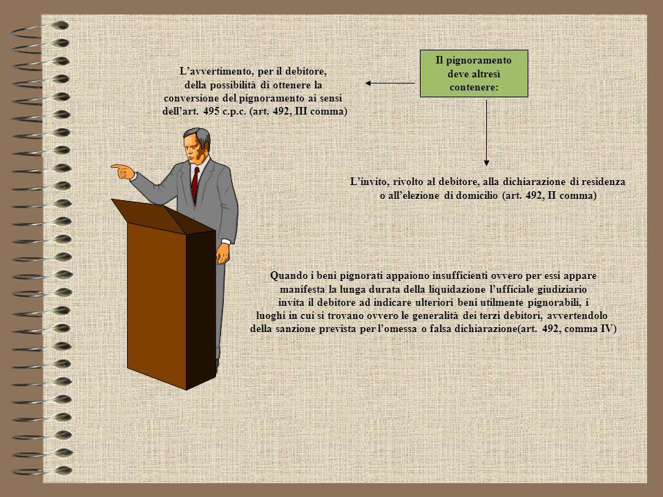 Il pignoramento consiste in un'ingiunzione che l'ufficiale giudiziario fa al debitore di astenersi da qualunque atto diretto a sottrarre alla garanzia