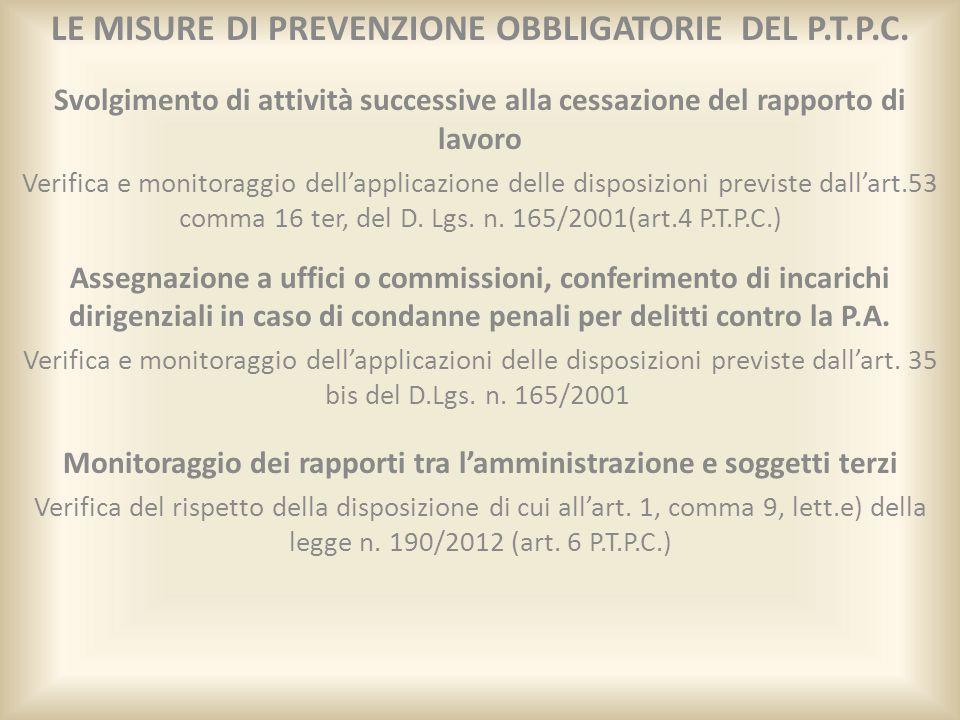 LE MISURE DI PREVENZIONE OBBLIGATORIE DEL P.T.P.C. Svolgimento di attività successive alla cessazione del rapporto di lavoro Verifica e monitoraggio d