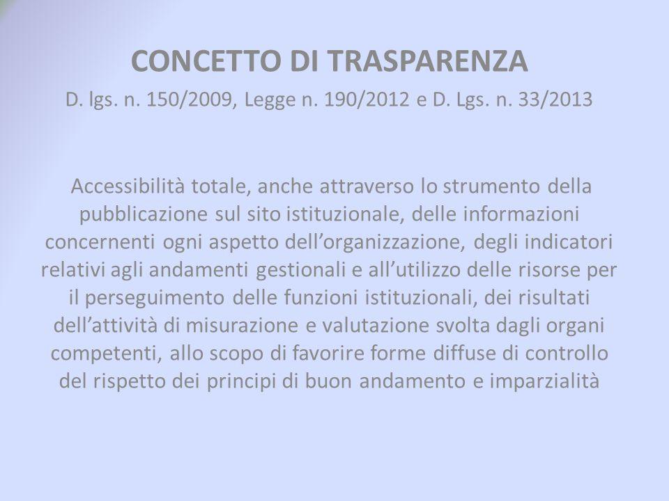 CONCETTO DI TRASPARENZA D. lgs. n. 150/2009, Legge n. 190/2012 e D. Lgs. n. 33/2013 Accessibilità totale, anche attraverso lo strumento della pubblica