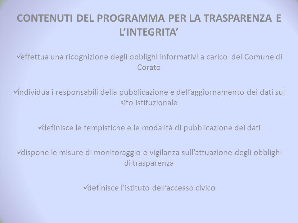 CONTENUTI DEL PROGRAMMA PER LA TRASPARENZA E L'INTEGRITA' effettua una ricognizione degli obblighi informativi a carico del Comune di Corato individua