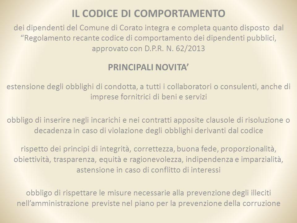 """IL CODICE DI COMPORTAMENTO dei dipendenti del Comune di Corato integra e completa quanto disposto dal """"Regolamento recante codice di comportamento dei"""