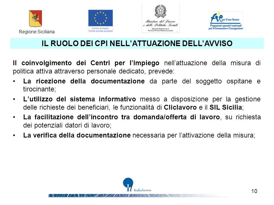 Regione Siciliana 10 IL RUOLO DEI CPI NELL'ATTUAZIONE DELL'AVVISO Il coinvolgimento dei Centri per l'Impiego nell'attuazione della misura di politica